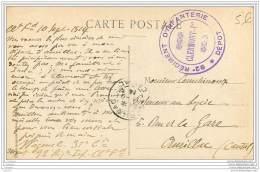 Cachet Du Depot Du 92e Regiment D'infanterie De Clermont Ferrand En 1914 - Prof Courchinoux A Aurillac - 1. Weltkrieg 1914-1918
