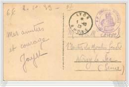 Cachet De La 605e Compagnie Automobile Sur Carte De Lyon 1939 - Guerre De 1939-45