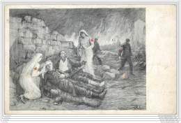 Militaria - Carte De Tombola Annulee  - Croix Rouge Illustration D'infirmieres Sur Lieu D'operation Ou De Combat 1916 - Guerre 1914-18