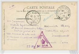 Militaria - Cachet De Censure Americaine Ou Britannique Sur Carte De Cambrin - Field Post Office 1915 - War 1914-18