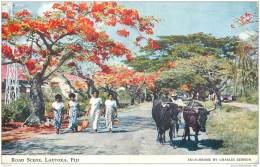 Fidji - Lautoka - Road Scene 1955 - With Tax Stamp - Figi