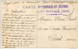 Militaria - Marcophilie Cachet Prisonniers De Guerre A Fort Barraux (Isere) WW1 - Vue Du Fort - Marcophilie (Lettres)