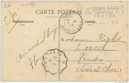 Militaria - Cachet Du 20e Corps D'Armee - Hopital Temporaire N° 8 A Troyes 1915 - Storia Postale