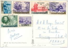 San Marino - Beautiful Stamps On Postcard 1952 - Saint-Marin
