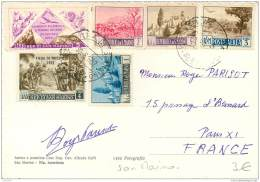 San Marino - Beautiful Stamps On Postcard 1952 (2) - Saint-Marin
