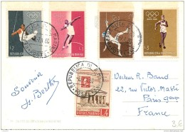 San Marino - Beautiful Stamps On Postcard 1960 - Olympic Games Roma 1960 JO - Saint-Marin