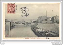 75019 - PARIS - Canal De La Villette - Ligne Chemin De Fer Et Peniches - District 19