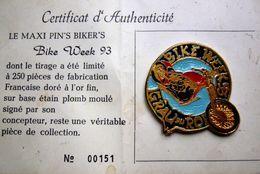 BIG Pin's Limité 250 Ex Doré Or Fin BIKE WEEK 93 GRAU DU ROI - MOTO MOTARD BIKER - Motorbikes