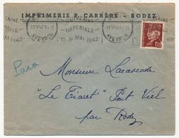 """Enveloppe En Tête Imprimerie Carrère RODEZ - OMEC """"QUINZAINE IMPERIALE 17/31 Mai 1942"""" S/1,20 Pétain - Guerre De 1939-45"""