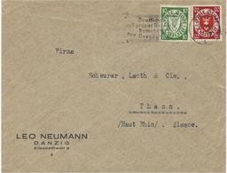 DANZIG  - 192?- Cover Fr. 20  P. + 10 P Pour Thann ( France ) - 1919-1939 Republic