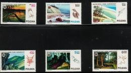 Polska Poland 1976 Polish National Parks Nature Birds Animals Fauna Trees Mountains Lakes Sea Cliffs Places Stamps MNH - Owls