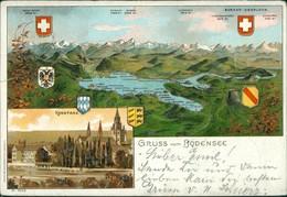 Ansichtskarte Konstanz 2 Bild Heraldik: Vogelschau Bodensee Und Stadt 1901 - Konstanz