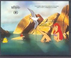 Nct241 WALT DISNEY KLEINE ZEEMEERMIN LITTLE MERMAID YEAR OF LITERACY VOGEL VIS BIRD FISH LOBSTER DOMINICA 1991 PF/MNH - Disney