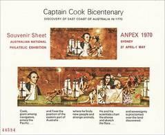 1970 - Australian CAPTAIN COOK BICENTENARY Minisheet Minature Sheet MNH Overprint ANPEX #47449 - Blocks & Sheetlets