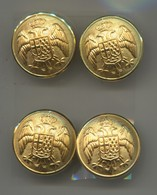 Kingdom Of Yugoslavia - Military Buttons For Uniform, Army, Mint, 4 Pcs, D 25 Mm - Buttons