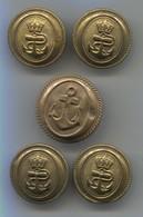 Austria, K.u.K. Navy Kriegsmarine - Military Buttons For Uniform, 5 Pcs, D 25 Mm - Buttons