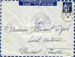 """27-5-40 -  Enveloppe PAR AVION Affr 1,50 F Paix  Oblit. Poste Navale  D'un Marin Sur Le """" Provence """" - Correo Marítimo"""
