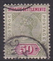 Malaysia-Straits Settlements SG 104 1892 Queen Victoria 50c Olive Green And Carmine, Used - Straits Settlements