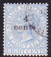 Malaysia-Straits Settlements SG 108 1898 Queen Victoria 4 Cents On 8c Ultramarine, Used - Straits Settlements