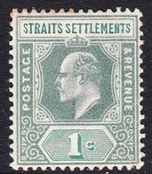 Malaysia-Straits Settlements SG 110 1902 King Edward VII, 1902  1c Green, Mint Hinged - Straits Settlements