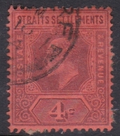 Malaysia-Straits Settlements SG 112 1902 King Edward VII, 1902  4c Purple Red, Used - Straits Settlements