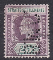 Malaysia-Straits Settlements SG 116 1902 King Edward VII, 1902  25c Dull Purple Nd Green, Perforated, Used - Straits Settlements