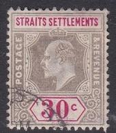 Malaysia-Straits Settlements SG 117 1902 King Edward VII, 1902  30c Grey And Carmine, Used - Straits Settlements