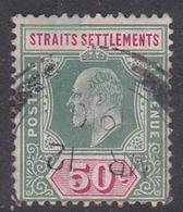 Malaysia-Straits Settlements SG 118 1902 King Edward VII, 1902  50c Deep Green And Carmine, Used - Straits Settlements