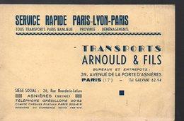 Paris : Carte Commerciale TRANSPORTS ARNOULD ET FILS  Paris-Lyon-Paris (PPP12981) - Tickets D'entrée