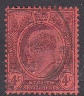 Malaysia-Straits Settlements SG 125 1904 King Edward VII, 4c Purple Red, Used - Straits Settlements