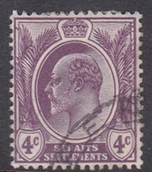 Malaysia-Straits Settlements SG 155 1910 King Edward VII, 4c Dull Purple, Used - Straits Settlements