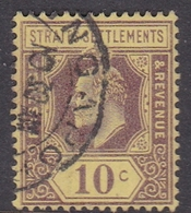 Malaysia-Straits Settlements SG 159 1910 King Edward VII, 10c Purple Yellow, Used - Straits Settlements