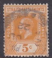 Malaysia-Straits Settlements SG 199 1912 King George V, 5c Orange, Used - Straits Settlements