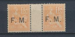 France Paire N°1 F.M. N* Avec Interpanneau Cote170 Signés Calves N2269 - Franchigia Militare (francobolli)