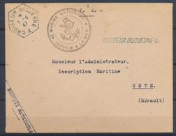 1947 Env. Obl. CROISEUR DUQUESNE + Linéaire, Superbe X1459 - Marcophilie (Lettres)