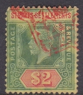 Malaysia-Straits Settlements SG 211 1915 King George V, $ 2.00 Green And Red, Used - Straits Settlements