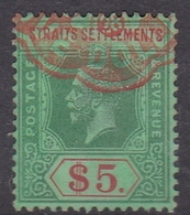 Malaysia-Straits Settlements SG 212 1915 King George V, $ 5.00 Green And Red, Used - Straits Settlements