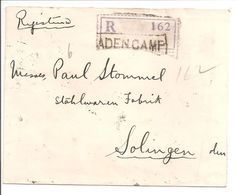 INDIA USED ABROAD ADEN CAMP.Registered Letter>Solingen Deutschland.S.M.MOSES ADEN 1928 - Aden (1854-1963)