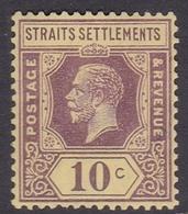 Malaysia-Straits Settlements SG 231 1925 King George V, 10c Purple Yellow, Mint Hinged - Straits Settlements