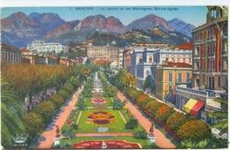 Menton 1938; Le Jardin Et Les Montagnes Sainte-Agnès - Voyagé. (Munier - Nice) - Menton