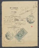 1903 Reçu Des Postes 25c Fiscal Obl Cachet Bleu PARIS44/T/R De Grenelle P3731 - Fiscaux