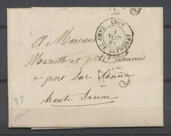 1861 Lettre Taxe 30c Obl CAD Type 15 Lyon CAMP DE SATHONAY SUP. P3876 - Marcophilie (Lettres)