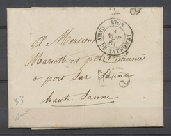 1861 Lettre Taxe 30c Obl CAD Type 15 Lyon CAMP DE SATHONAY SUP. P3876 - Postmark Collection (Covers)