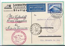 W-L042 / Deutsches Reich,  Firmenkarte (Löwe Verlag, Stuttgart) Zeppelin Südamerikafahrt 1930, N. Santa Cruz, Brasilien - Briefe U. Dokumente