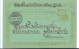 Ho002 / Honduras,  Bahn (tren, Train, Chemin De Fer) Auf Attraktiver Ganzsache 1901 Nach Hannover, Deutschland - Honduras