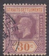 Malaysia-Straits Settlements SG 235 1921 King George V, 30c Dull Purple And Orange, Used - Straits Settlements