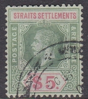 Malaysia-Straits Settlements SG 240a 1926 King George V, $ 5.00 Green And Red, Used - Straits Settlements