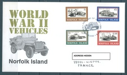 NORFOLK ISLANDS  - 8.8.1995 - FDC - 2ND WORLD WAR VEHICLES -Yv 567-568 SG 596-599 - Lot 16945 - LIGHT HINGED AT BACKSIDE - Ile Norfolk