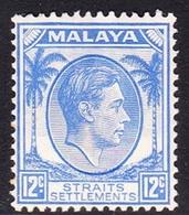 Malaysia-Straits Settlements SG 285 1938 King George VI, 12c Ultramarine, Mint Hinged - Straits Settlements