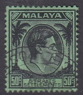 Malaysia-Straits Settlements SG 289 1938 King George VI, 50c Black Emerald, Used - Straits Settlements